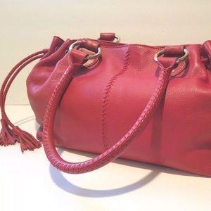 The SAK Red Leather Bucket Hobo Handbag